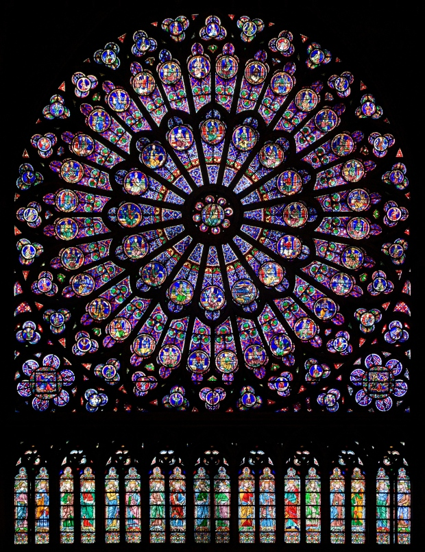 The north rose window in Notre Dame de Paris.