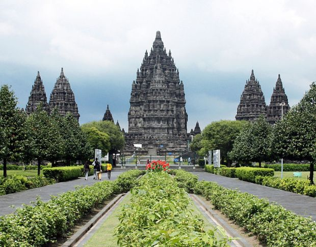 The Triumurti temples at the Prambanan Hindu temple complex.