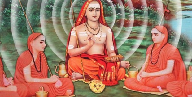 Adi Shankara (ca. 8th century CE) with disciples. Shankara consolidated the Hindu philosophy of Advaita Vedanta, which posits the non-duality, or unity of all objects and subjects in one's self (atman) and the supreme self (Brahman).
