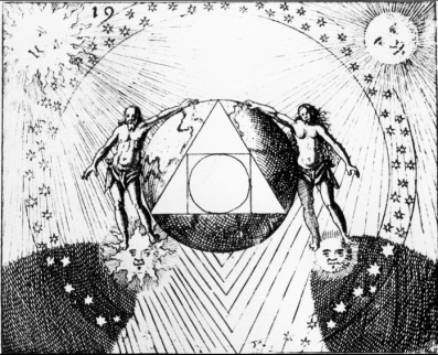 Another depiction of the squaring of the circle, this depiction from a work by the 17th century alchemist Daniel Stolz von Stolzenberg.