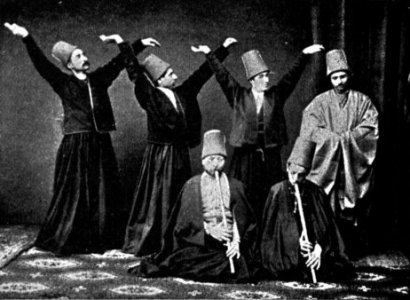 Medvlevi whirling dervishes and ney players in 1887. (Source unknown.)