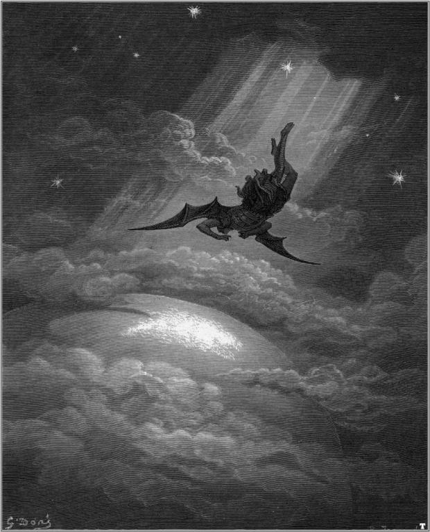 Gustave Doré: illustration of Lucifer falling from Heaven (1865), for Milton's Paradise Lost.