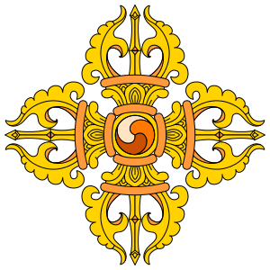 A double vajra. The vajra is a symbol of importance in Vajrayana Buddhism.