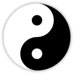 "A taijitu, also called a ""yin yang,"" a well-known symbol of Taoism."
